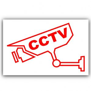1 x CCTV-Video Recording Camera Security Warning Sticker-Self Adhesive Vinyl Sign-Red on White